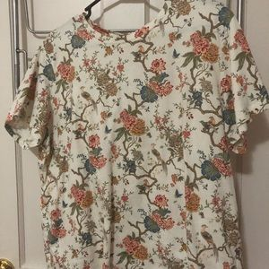 White Tee with Floral and Bird pattern
